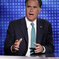 """Republican presidential candidate, former Massachusetts Gov. Mitt Romney is interviewed by Martha MacCallum, co-anchor of """"America's Newsroom"""" on the Fox News Channel in New York, Wednesday, April 11, 2012. On Tuesday, Romney made clear that he would assault Obama's character as well, saying the president is not inept at economic policy, but he actively dislikes business."""
