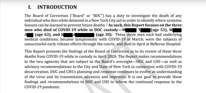 From the Board of Correction's report on three early COVID-19 deaths of city inmates.