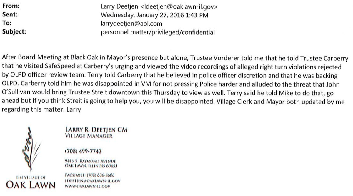 Email showing behind-the-scenes efforts by SafeSpeed in Oak Lawn to get the police to issue more red-light-camera tickets.