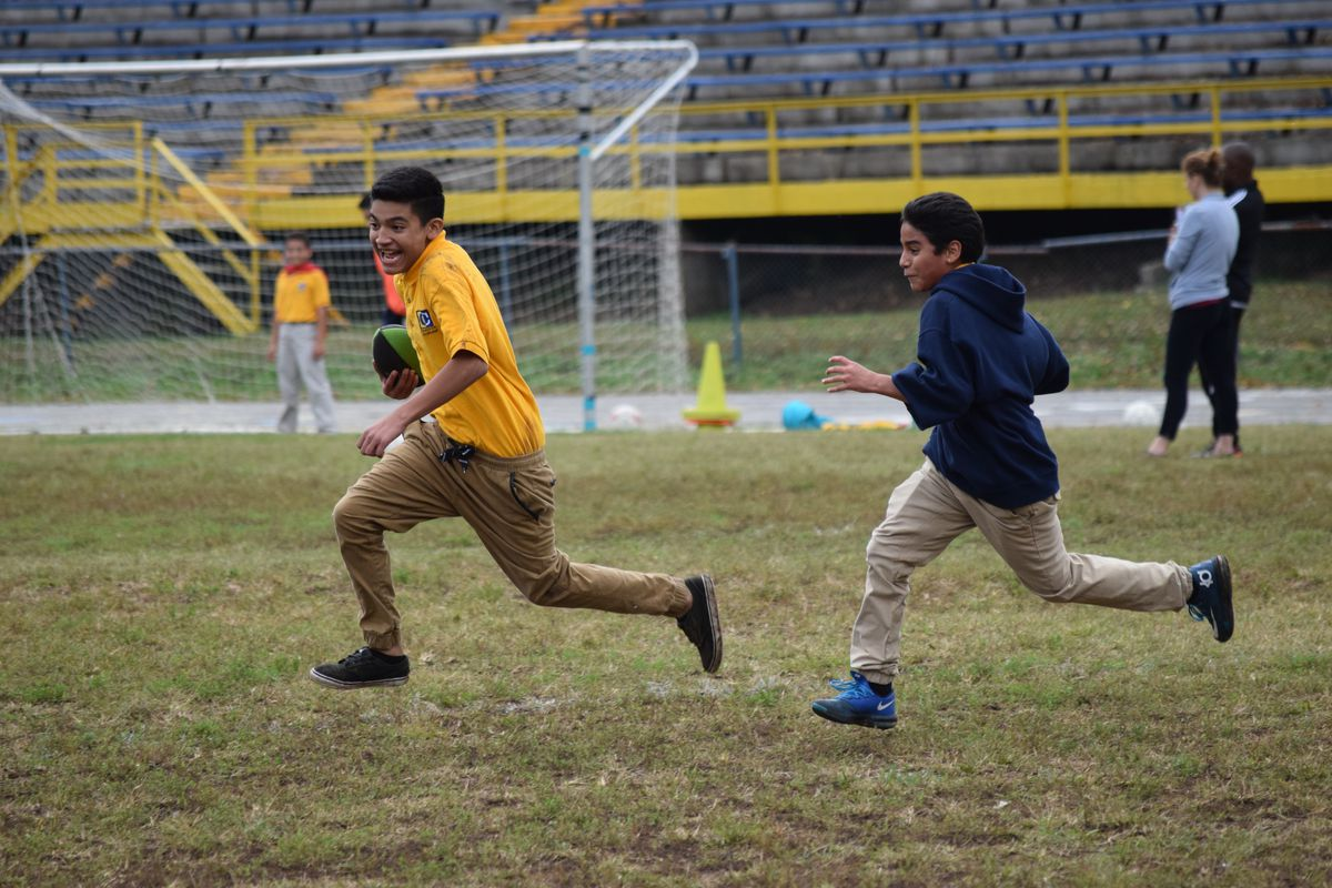 Cameron students play during recess.