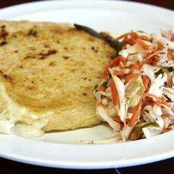 Cheese pupusas with curtido.