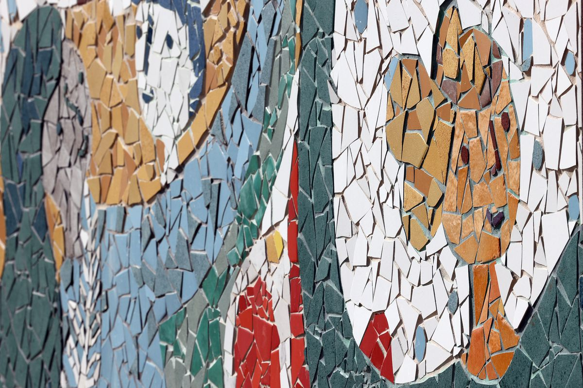 A mosaic panel is part of a mural dedicated to those who have committed suicide.