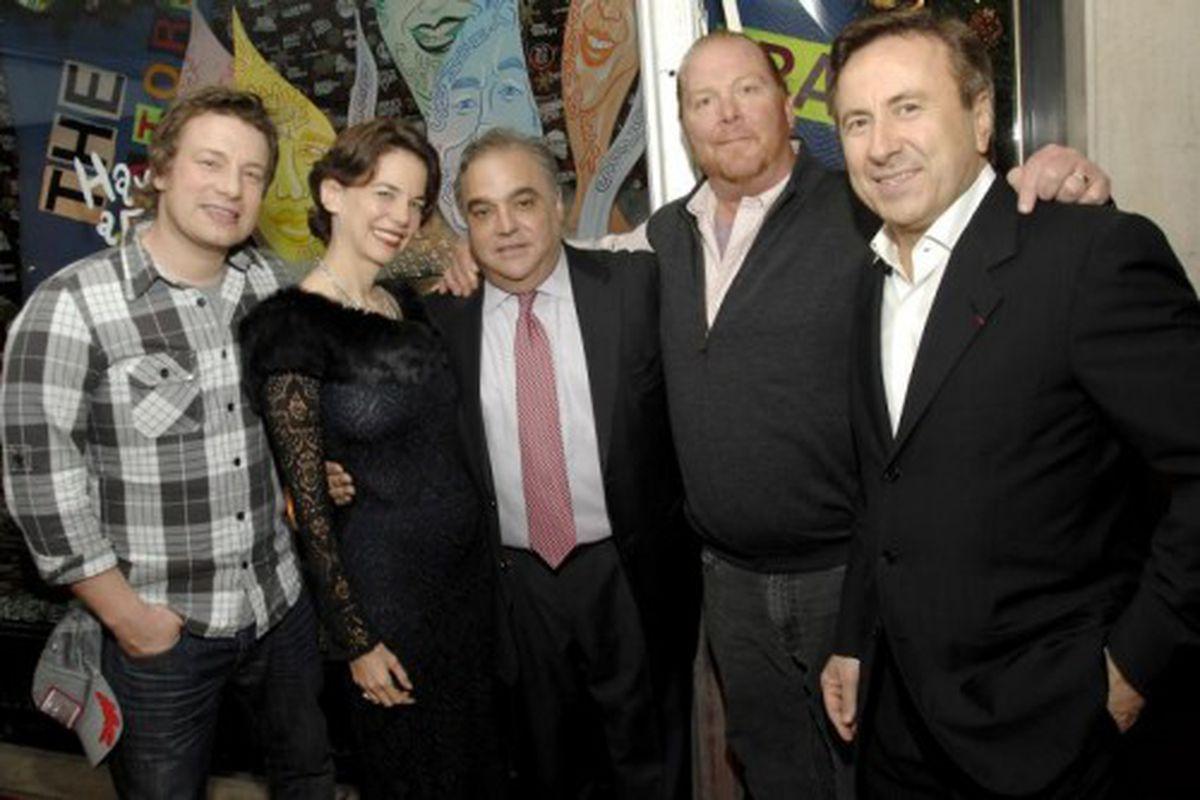 Jamie Oliver, Dana Cowin, Lee Schrager, Mario Batali, Daniel Boulud.