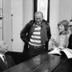 """Composer Richard Rodgers, left, rehearses the music for """"Rex"""" with actor Nicol Williamson, actress Penny Fuller and lyricist Sheldon Harnick on Jan. 19, 1976."""