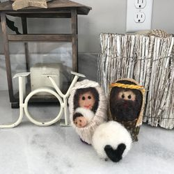 A felt-and-wool Nativity set in Carmen Herbert's home.