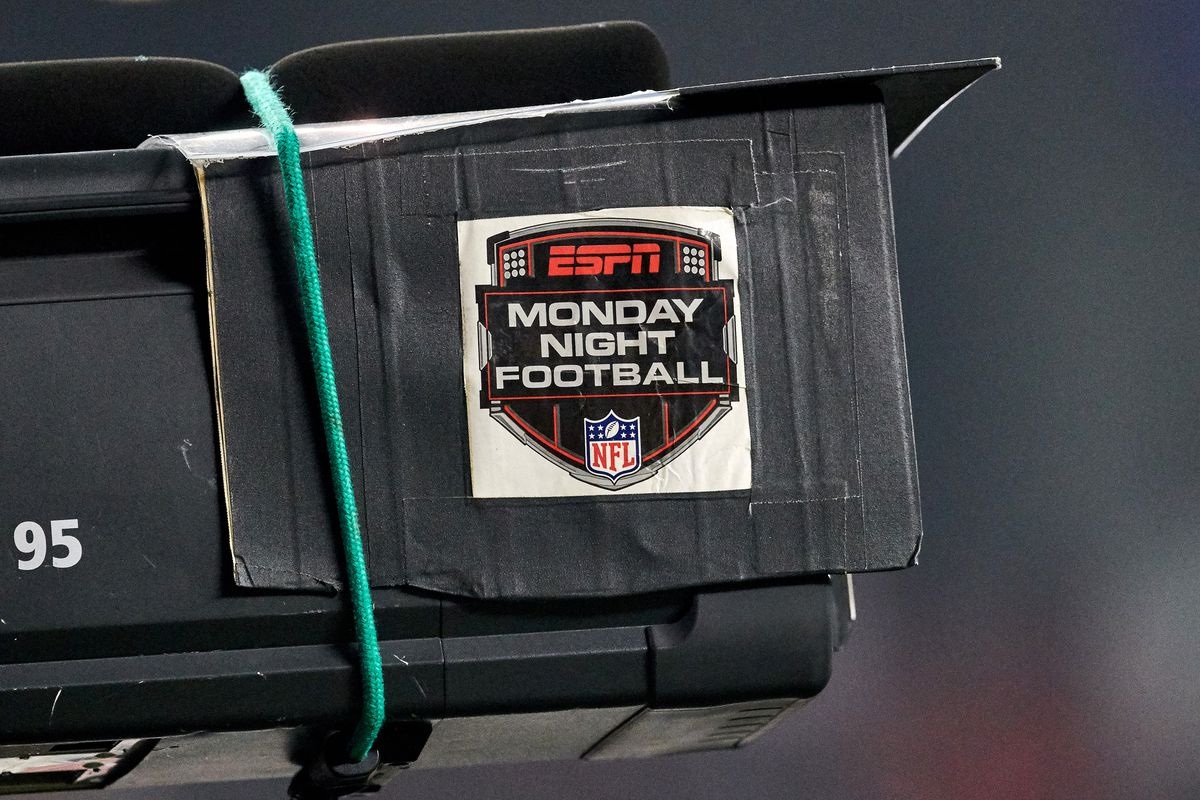 A detailed view of an ESPN Monday Night Football logo is seen on a broadcast TV camera during the NFL game between the New York Giants and the San Francisco 49ers on November 12, 2018 at Levi's Stadium in Santa Clara, CA.