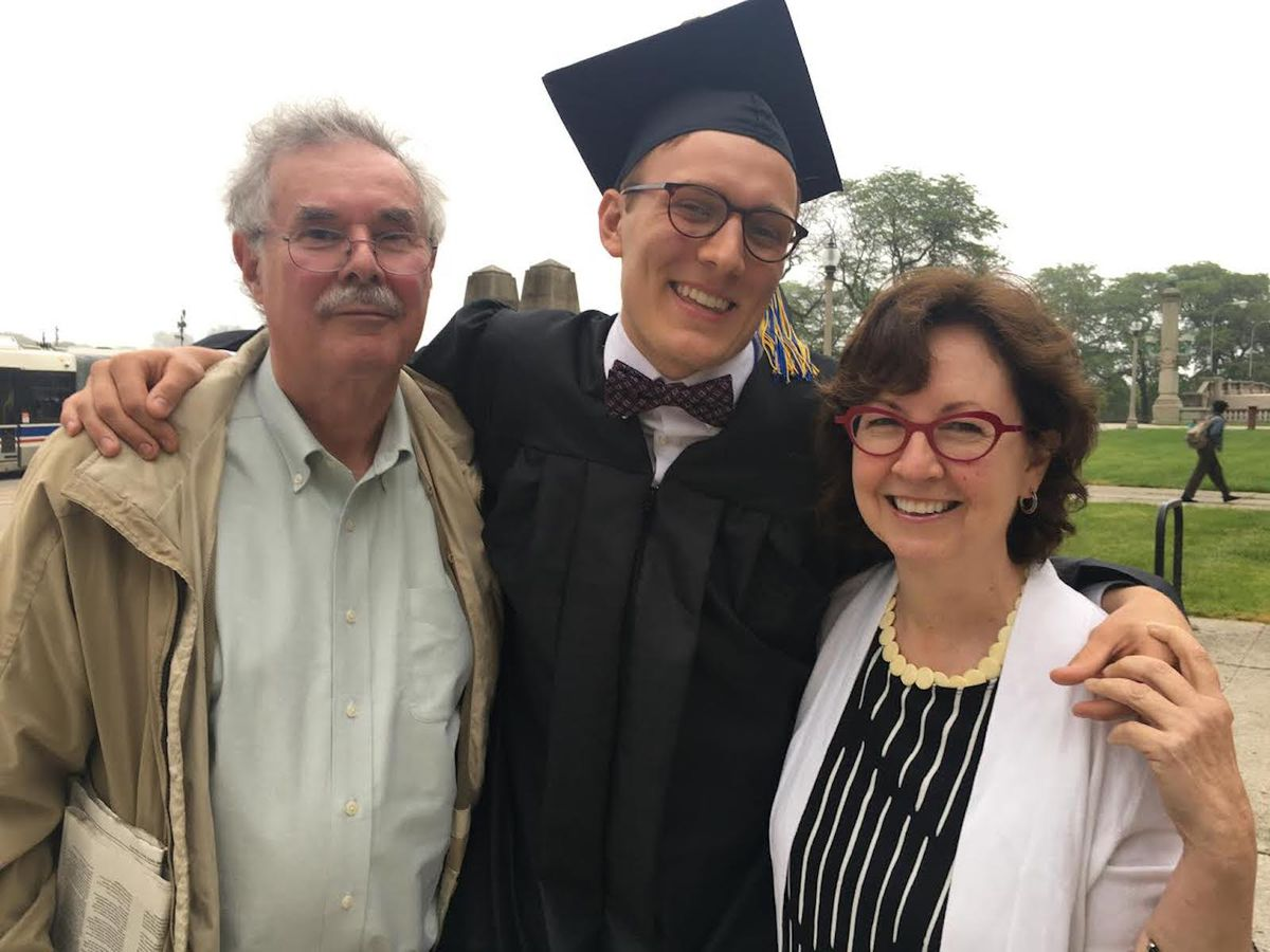 Frank Zuccari and Maureen King at the high school graduation of Alex King.