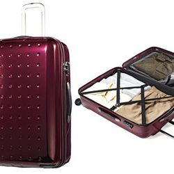 """<b>Samsonite</b> 20"""" Pixel Cube Hardside Rolling Carry On Upright in Aubergine, <a href=""""Samsonite Suitcase, 20"""" Pixel Cube Hardside Rolling Carry On Upright"""">$289.99</a> (from $580) at Macy's"""