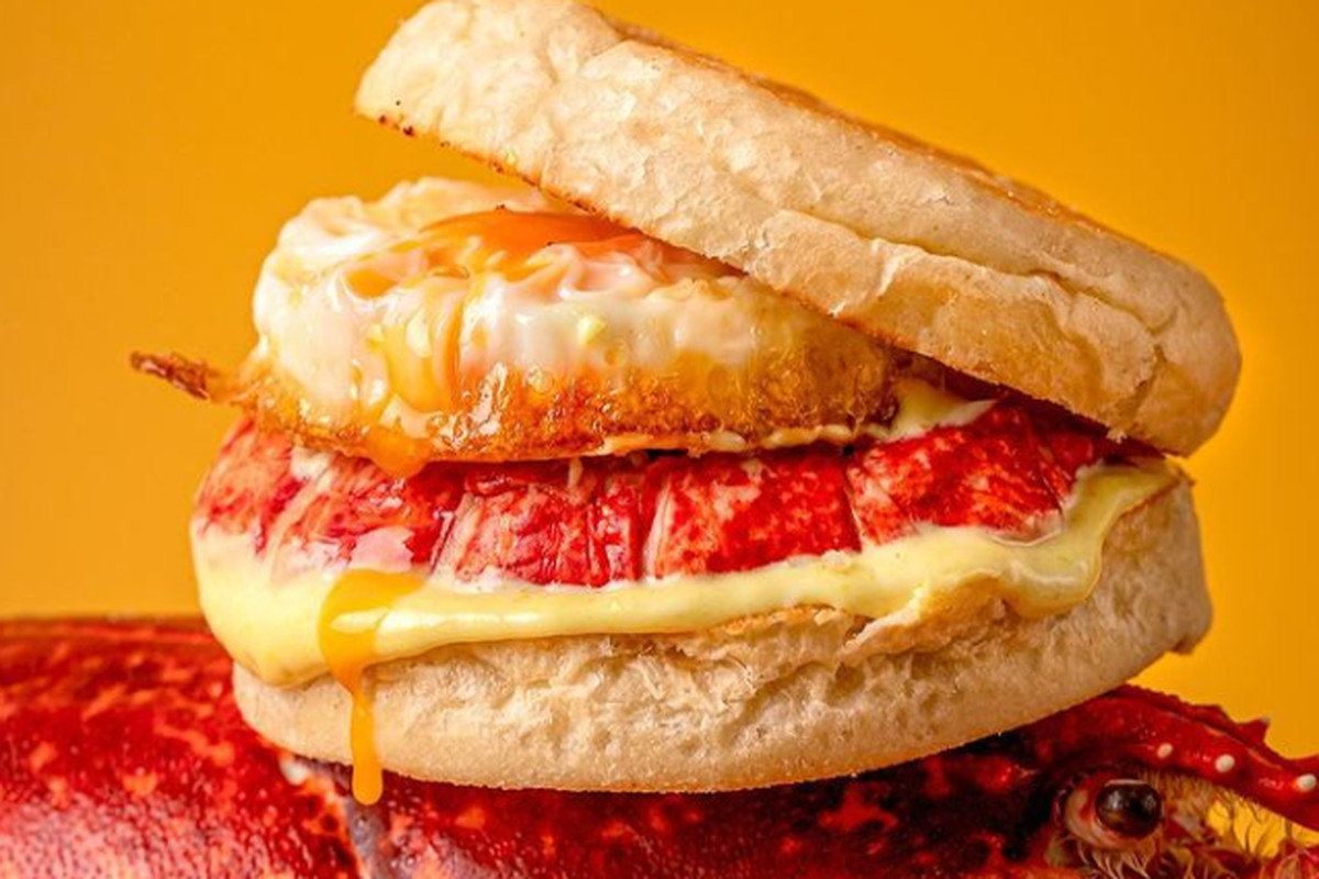 The lobster 'BF' muffin, with fried egg and cheese.