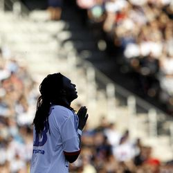Lyon's Bafe Gomis reacts during their French League One soccer match against Ajaccio at Gerland stadium, in Lyon, central France, Sunday, Sept. 16, 2012.