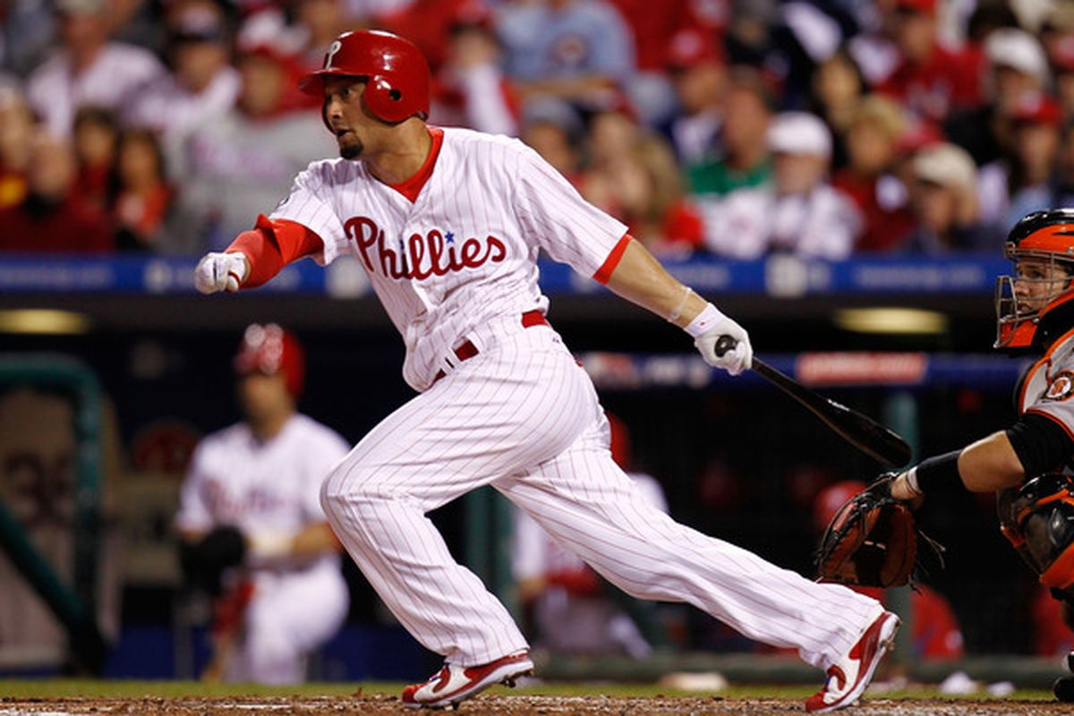 Shane Victorino: Possibly being fitted for a different shade of pinstripes?  (Photo by Jeff Zelevansky/Getty Images)
