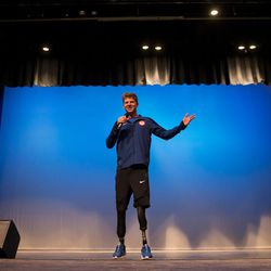 Hunter Woodhall speaks during a ceremony at Syracuse High School on Saturday, Sept. 24, 2016. The Syracuse student won two medals at the 2016 Summer Paralympics in Rio.
