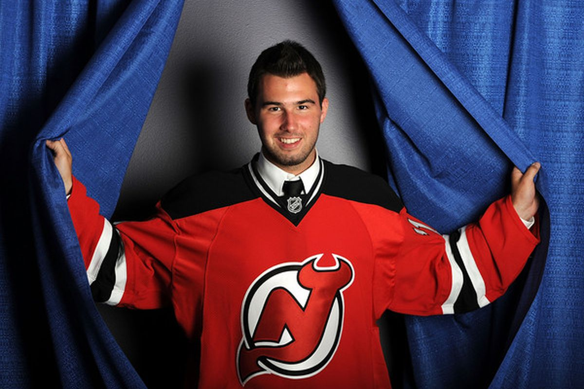 Maxime Clermont, pictured after being selected in the sixth round by the New Jersey Devils in 2010, has been a playoff hero for Gatineau in 2011. (Photo by Harry How/Getty Images)