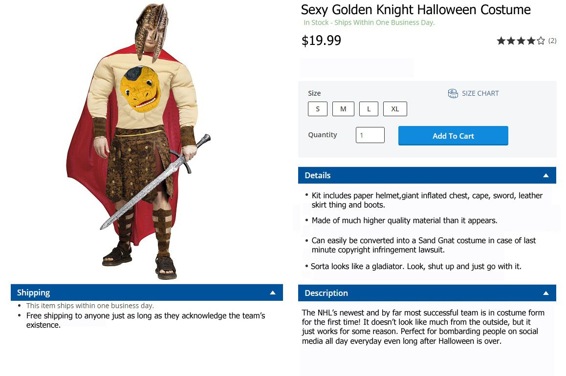 sexy golden knight costume