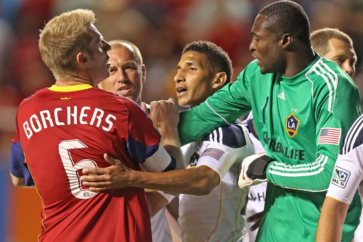 RSL's Nat Borchers isn't afraid to mix it up, but his red card in Tuesday's match against CS Herediano wasn't even close to warranted. (Photo by George Frey/Getty Images)