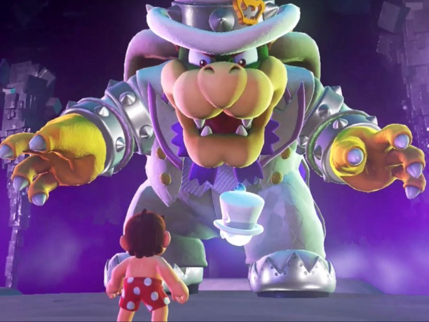 bowser reacts to all of mario s outfits in super mario odyssey polygon