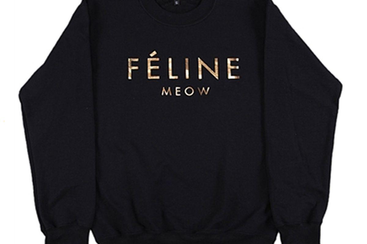 """Photo via <a href=""""http://www.shopbrianlichtenberg.com/Black-Feline-Sweatshirt-with-Gold-Ink-p/bl12ssfelblkg.htm"""">Brian Lichtenberg</a>"""