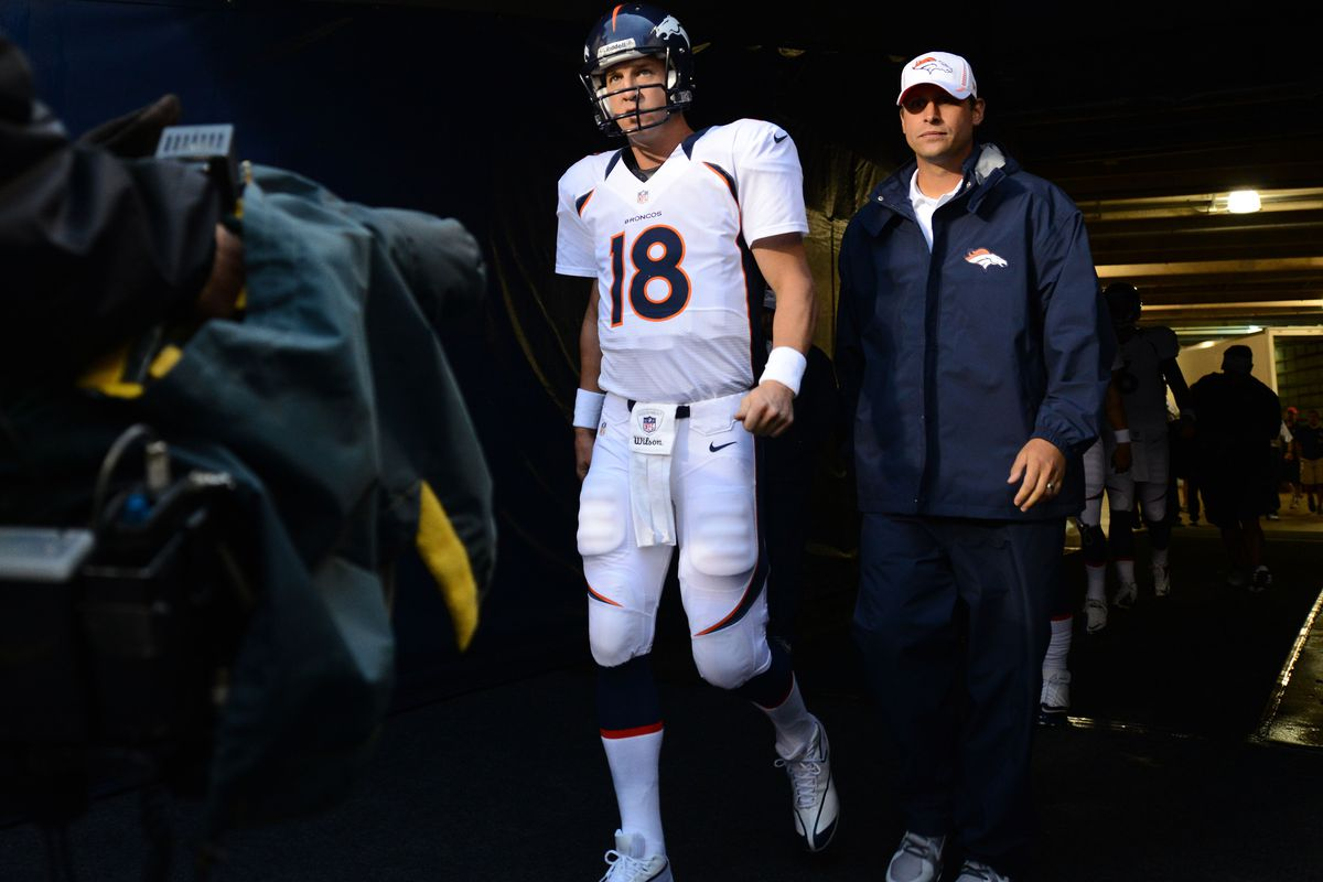 Aug 09, 2012; Chicago, IL, USA; Denver Broncos quarterback Peyton Manning (18) prior to the game against the Chicago Bears at Soldier Field. Mandatory Credit: Mike DiNovo-US PRESSWIRE