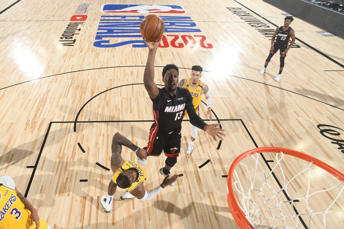 Bam Adebayo of the Miami Heat shoots the ball against the Los Angeles Lakers during Game One of the NBA Finals on September 30, 2020 at AdventHealth Arena in Orlando, Florida.