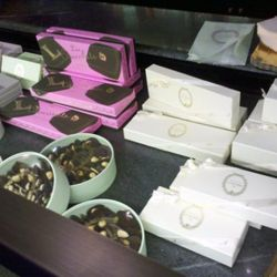 Chocolates in macaron-colored boxes