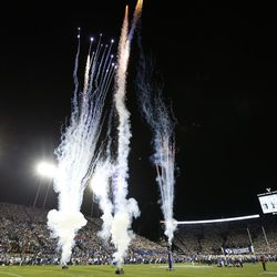 Fireworks are shot off in Provo on Saturday, Sept. 9, 2017. Utah won 19-13.