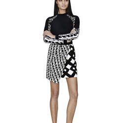 Rash Guard in Black/White Print, $29.99; Skirt in Black/White Print, $34.99; Slip-On Shoe in Black/White Print, $29.99