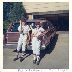 My Dad (on the left) with his Met Stadium bat.