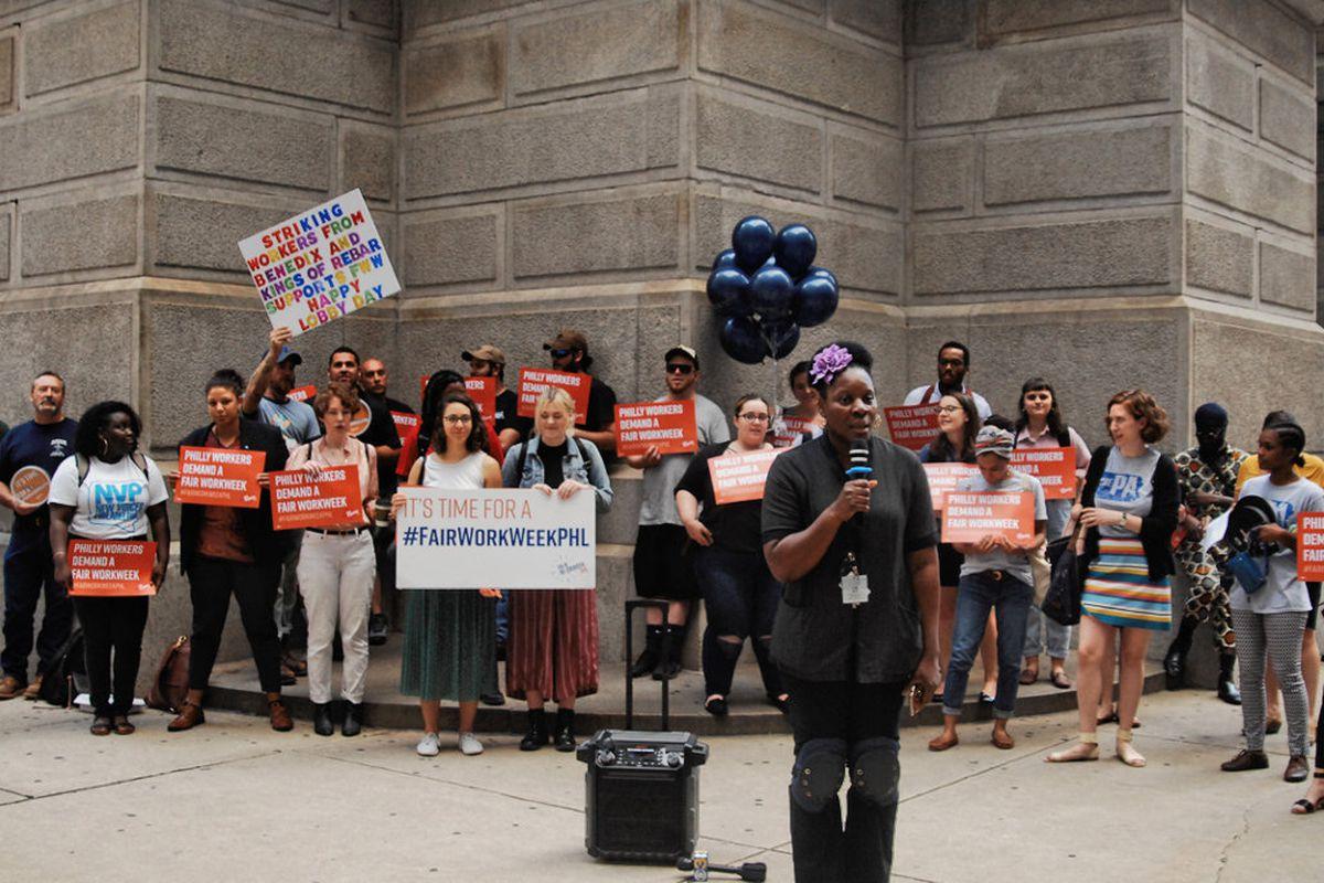 Fair Work Week Philadelphia Rally At City Hall