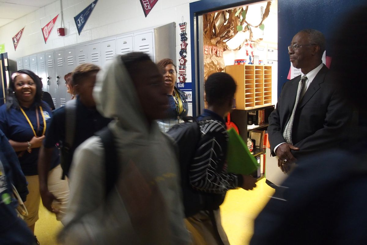Students head to class at Kirby Middle School, which Green Dot Public Schools runs under the state-run Achievement School District. Green Dot requested student contact information from Shelby County Schools in July.