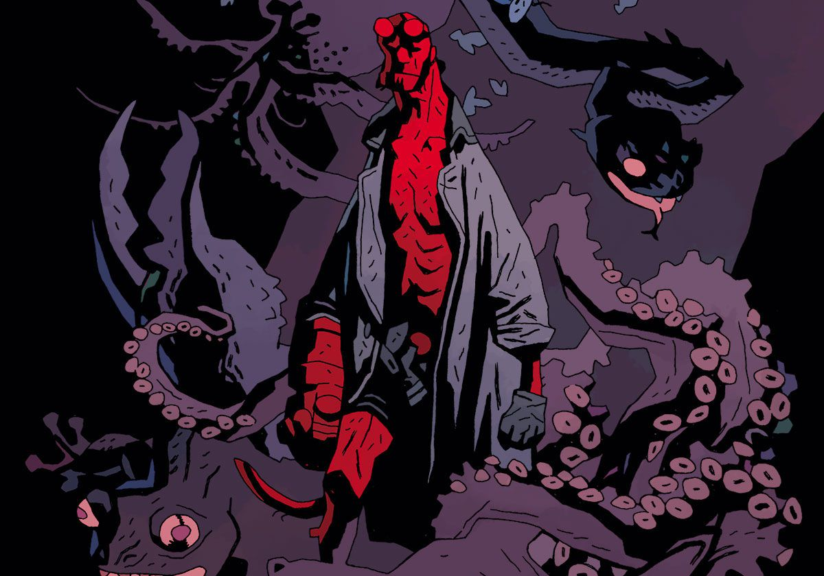 Hellboy surrounded by monsters in a Mike Mignola print