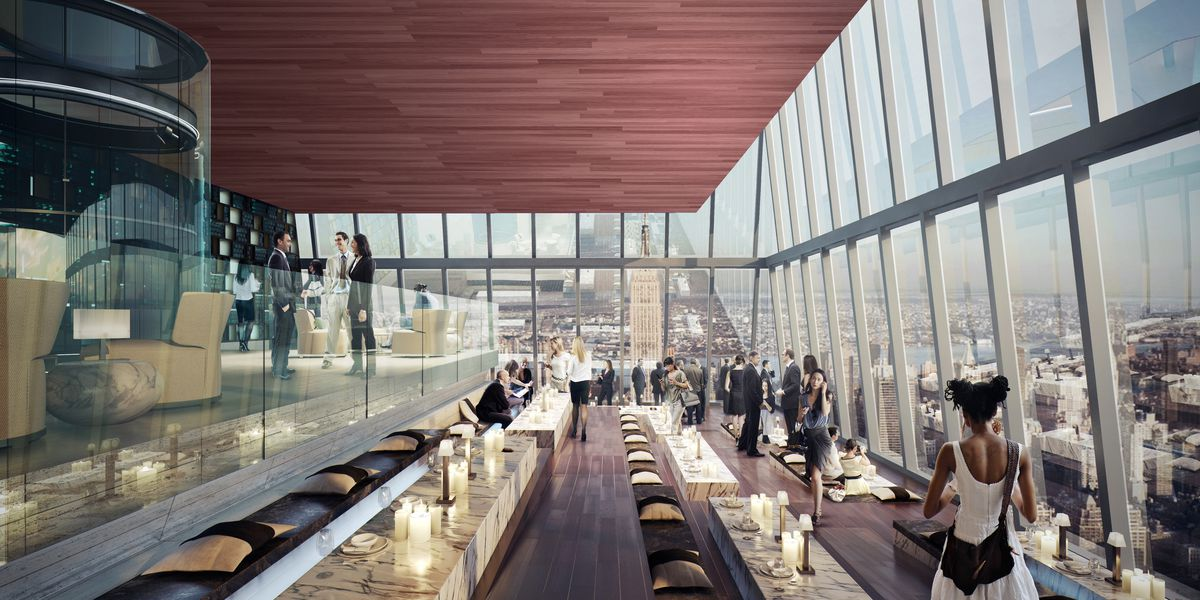 A rendering of the lounge at 30 Hudson Yards