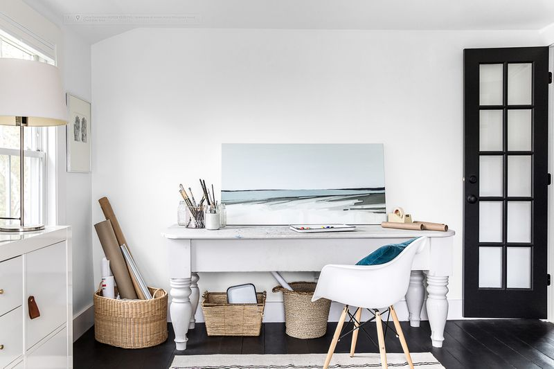 a Cape Cod-style remodel in Cumberland Foreside, ME, studio/office