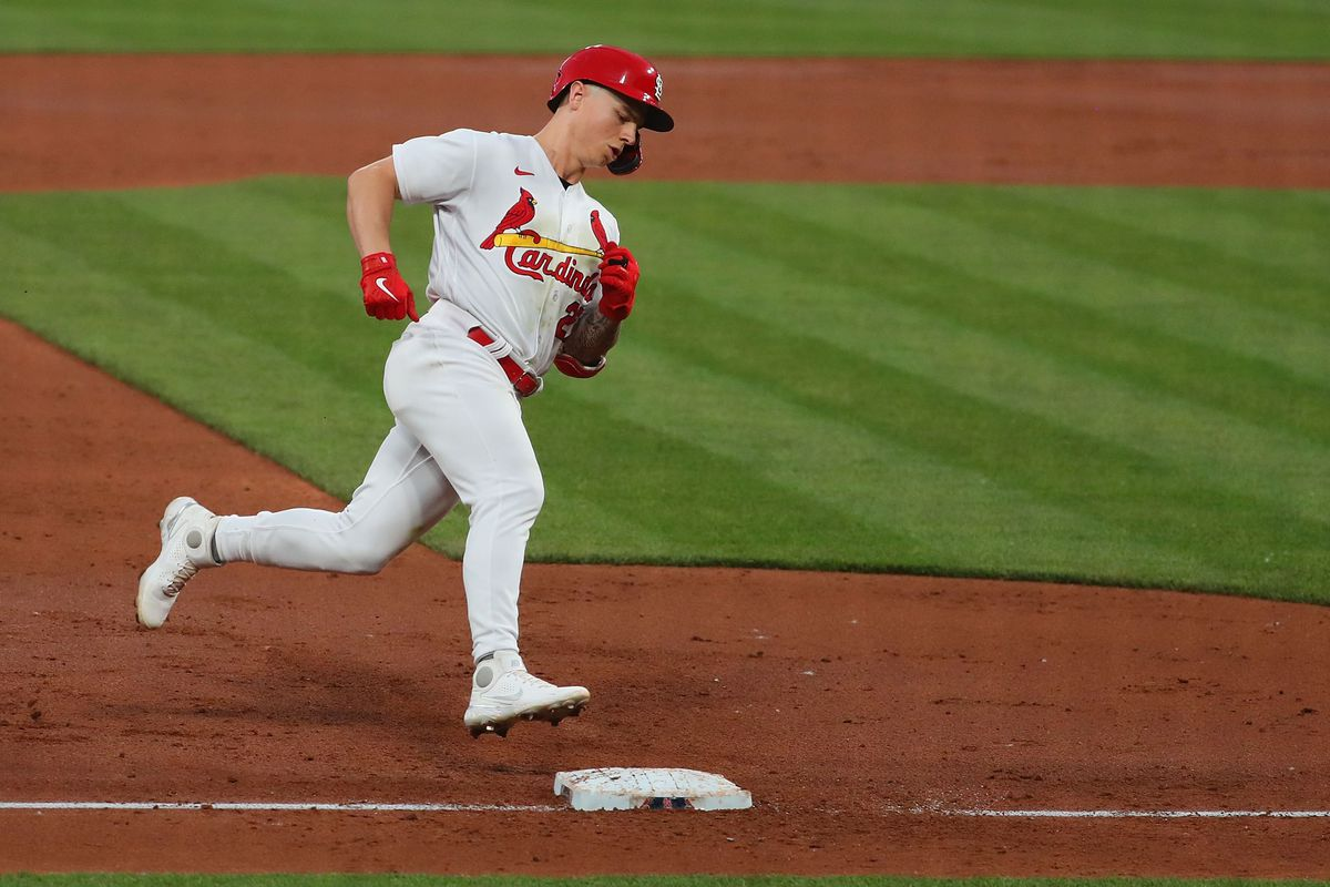 Tyler O'Neill #27 of the St. Louis Cardinals rounds third base after hitting a two-run home run against the Cleveland Indians in the third inning at Busch Stadium on June 9, 2021 in St Louis, Missouri.