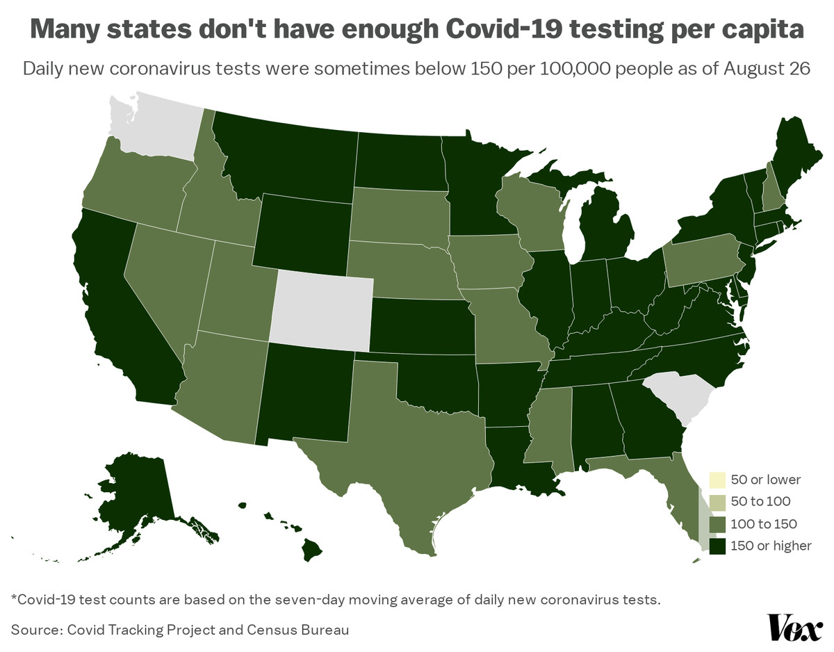 A map of coronavirus tests per capita, state by state.