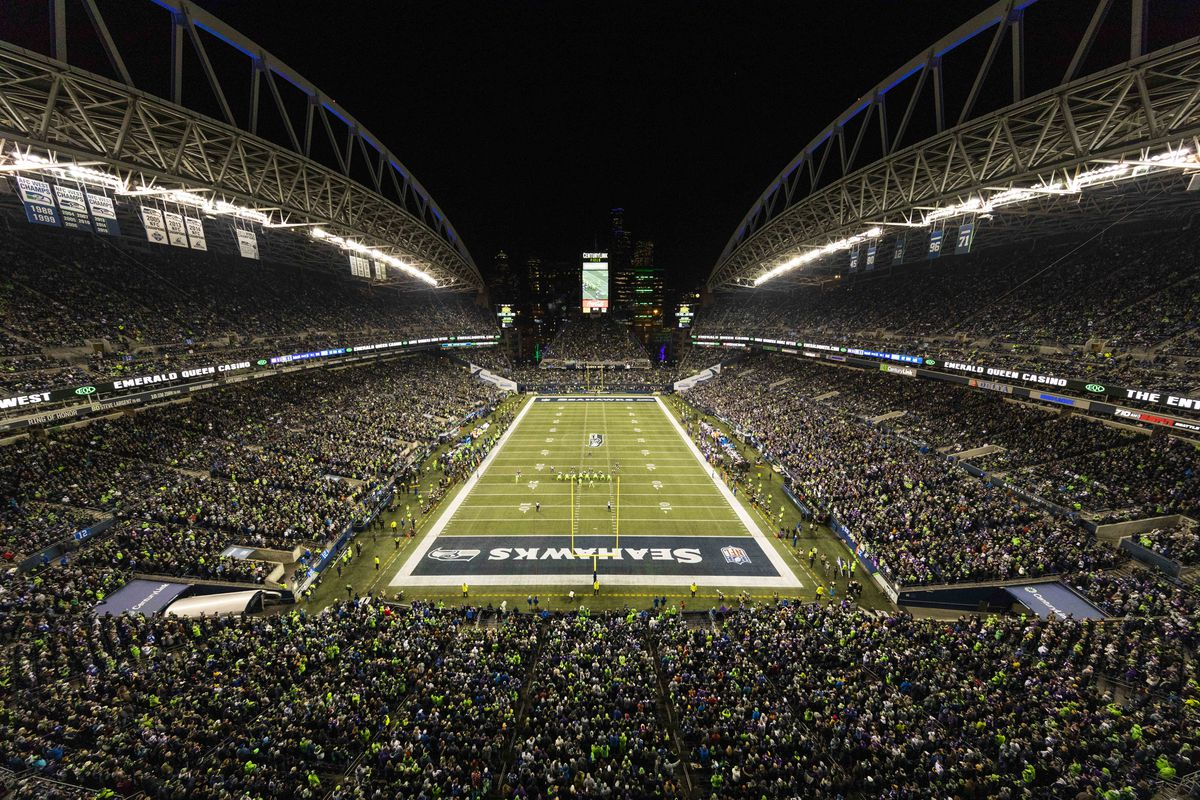 General view of the interior of CenturyLink Field from an elevated position during the NFL regular season football game against the Minnesota Vikings and the Seattle Seahawks on Monday, Dec, 10, 2019 at CenturyLink Field in Seattle, WA.