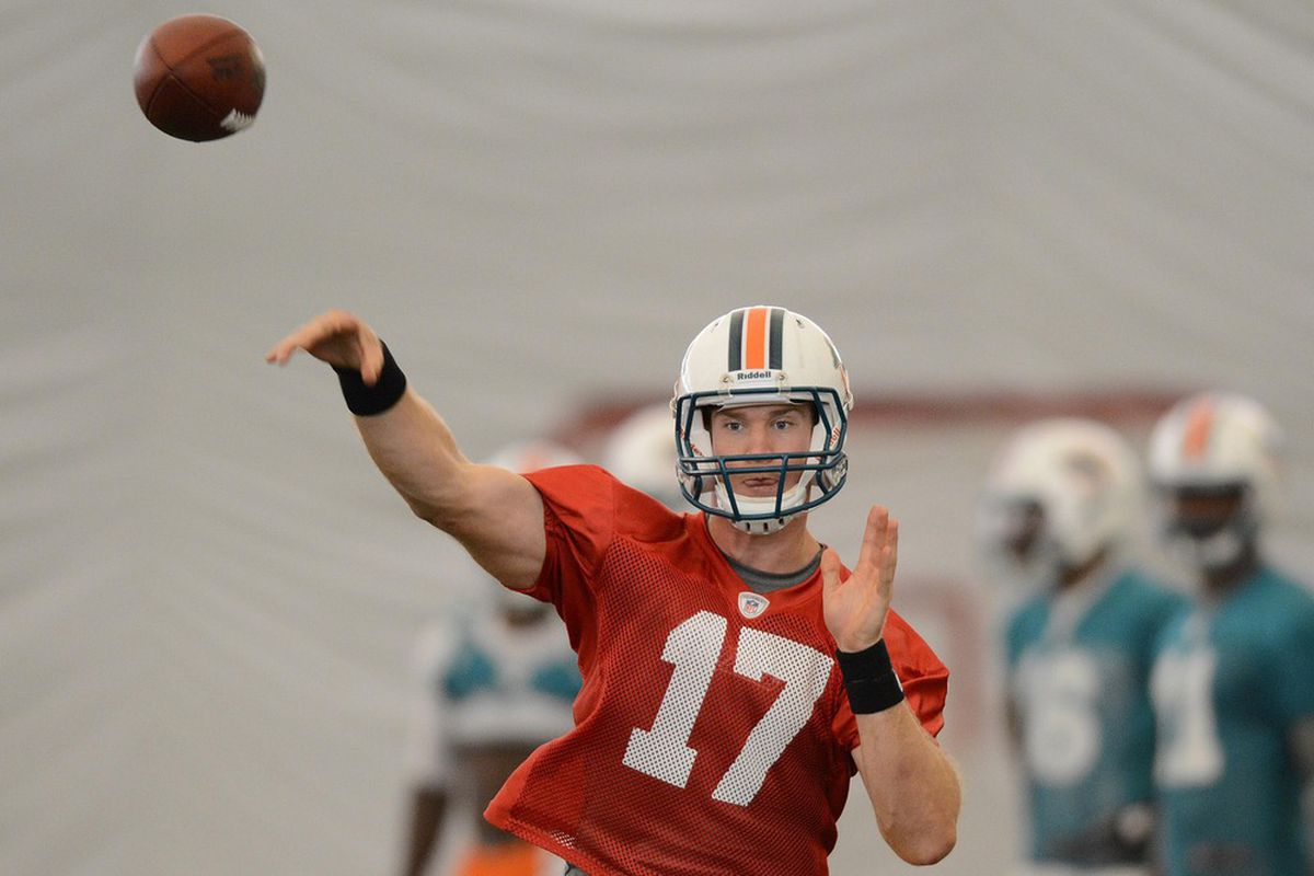 June 19, 2012; Davie, FL, USA; Miami Dolphins quarterback Ryan Tannehill (17) throws a pass during mini camp practice at the Dolphins training facility. Mandatory Credit: Steve Mitchell-US PRESSWIRE