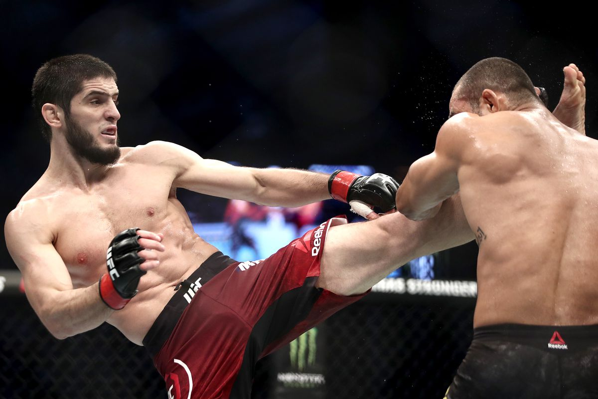 MMA fighters Davi Ramos of Brazil and Islam Makhachev of Russia fight in their lightweight bout at the UFC 242 mixed martial arts tournament.