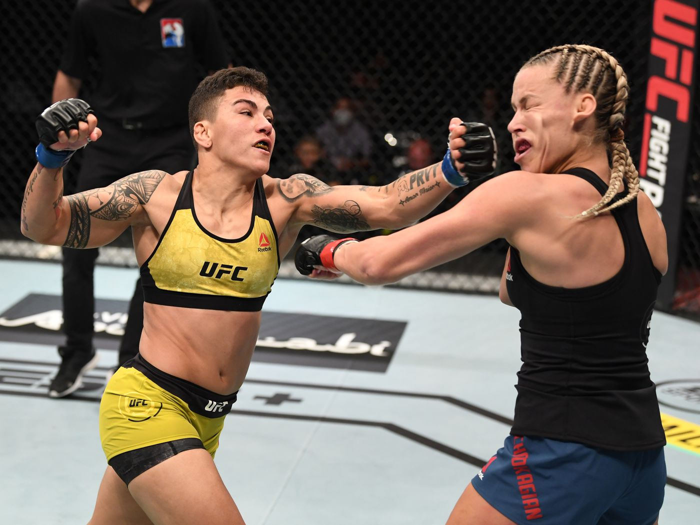 UFC Fight Island 6 video: Jessica Andrade finishes Katlyn Chookagian in first round with punishing body shots - MMA Fighting