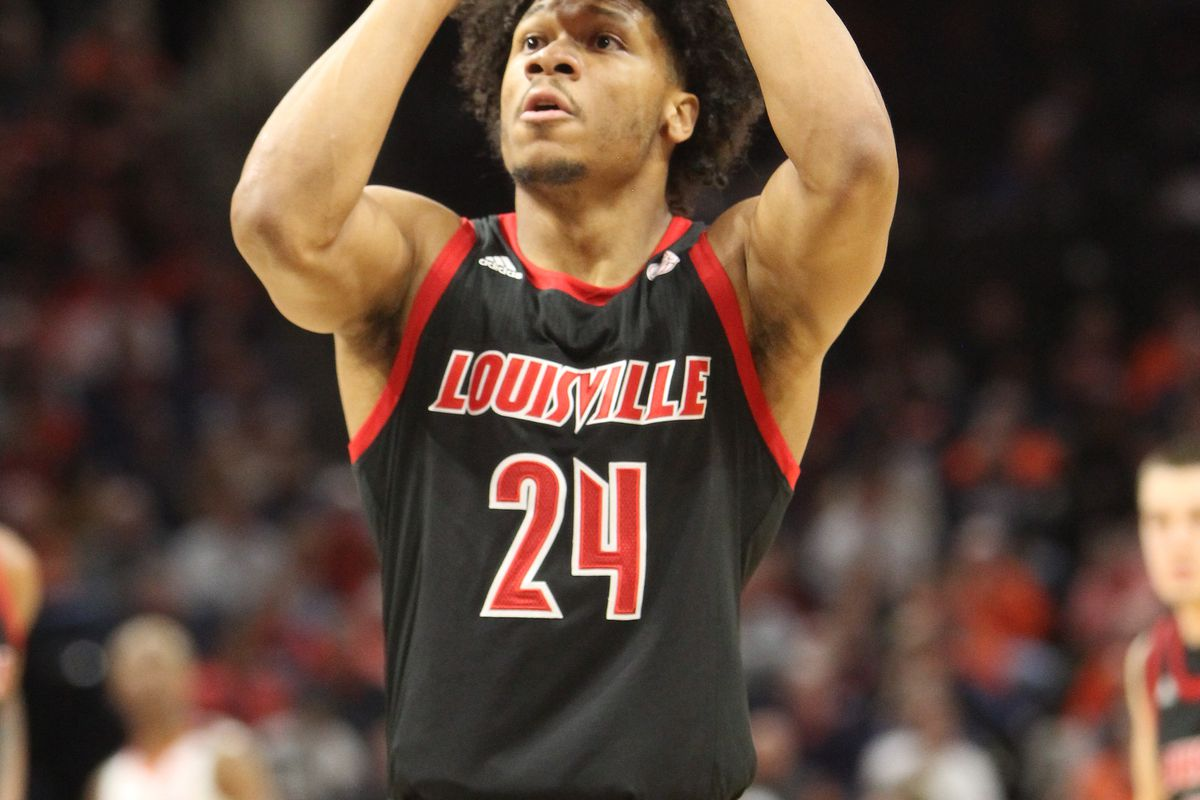 Louisville Cardinals forward Dwayne Sutton during a game between the Louisville Cardinals and the Virginia Cavaliers on March 07, 2020, at John Paul Jones Arena in Charlottesville, VA