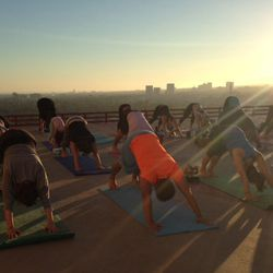 Getting our downward dog on.