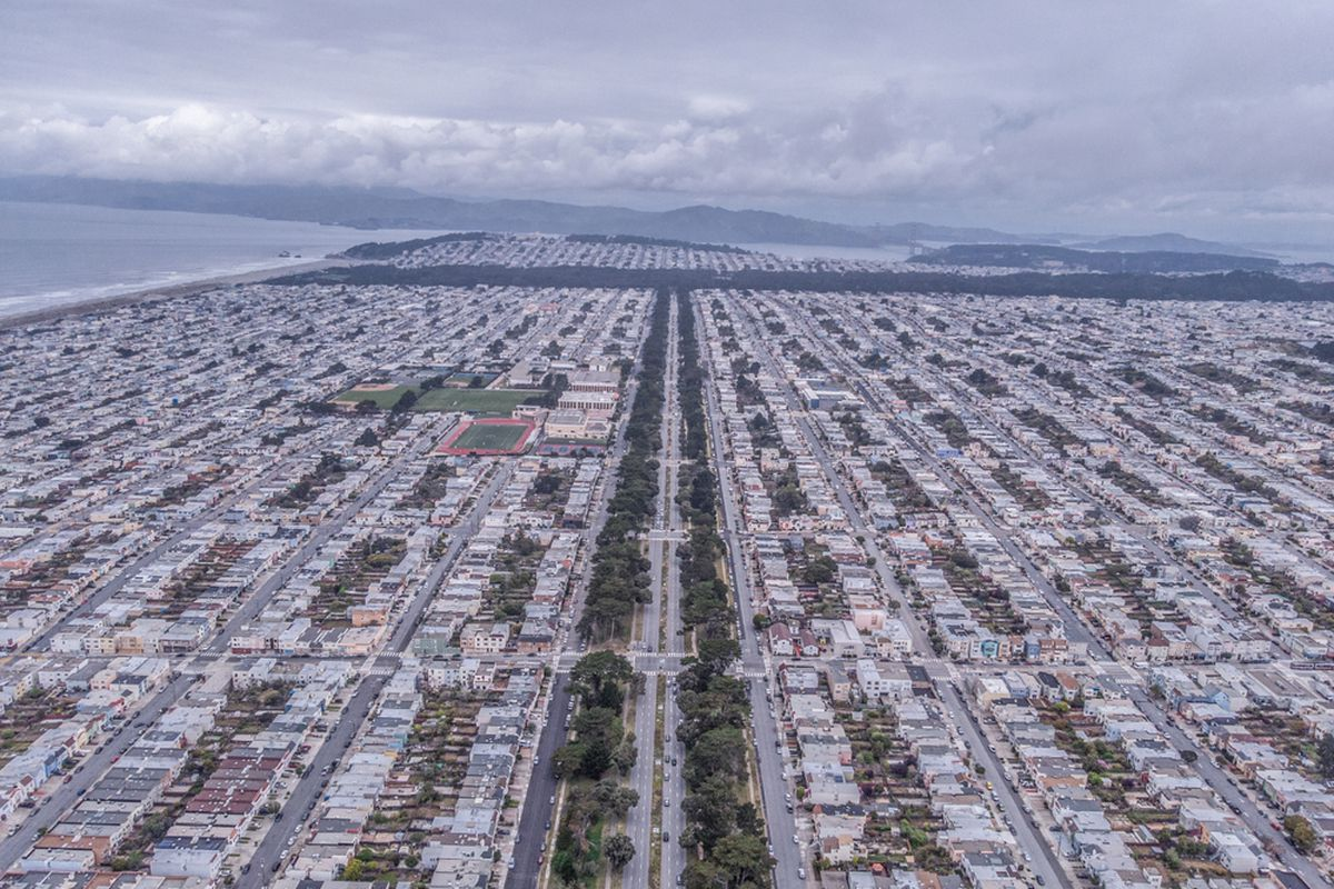 An aerial photo of Sunset homes.