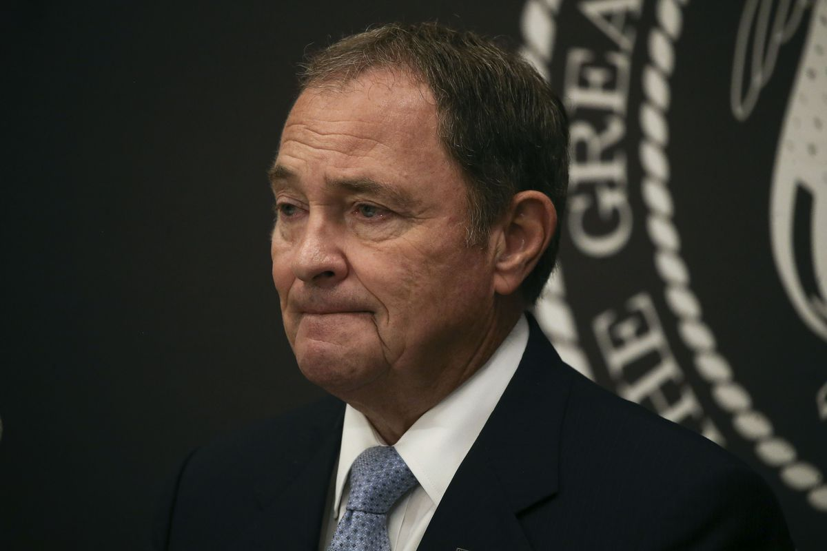 Gov. Gary Herbert announces he is expanding face mask requirements to all schools, but he did not make a general requirement statewide, during a press conference at the Capitol in Salt Lake City on Thursday, July 9, 2020.