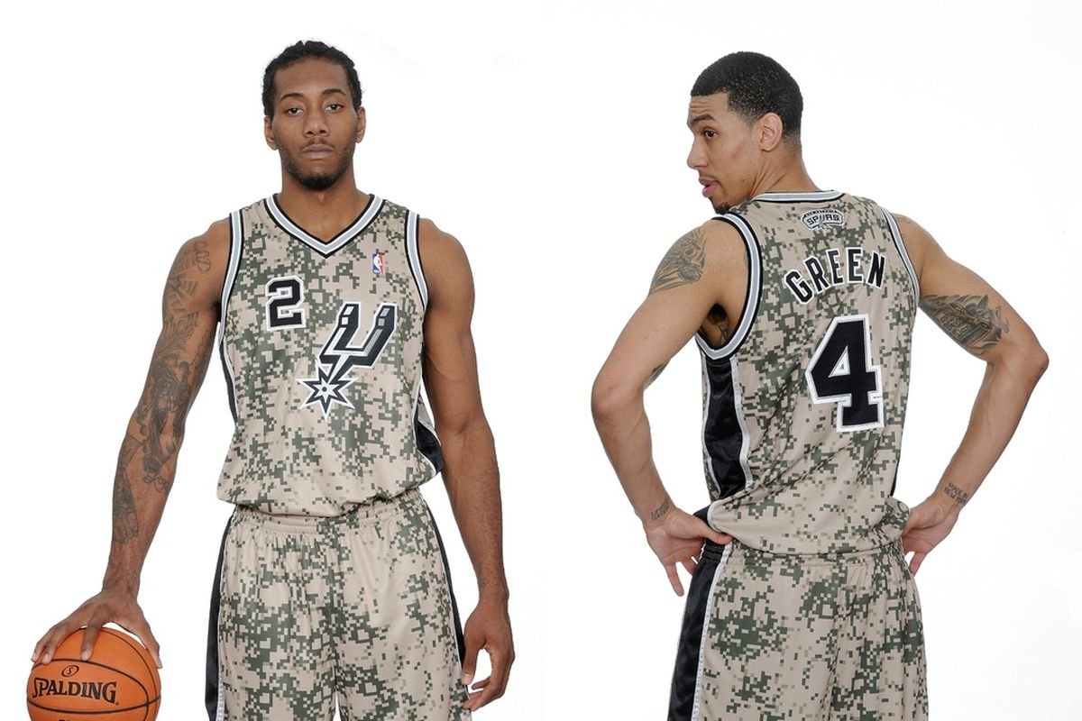 7bf148cb4 Spurs release photos of military-inspired camouflage jerseys ...