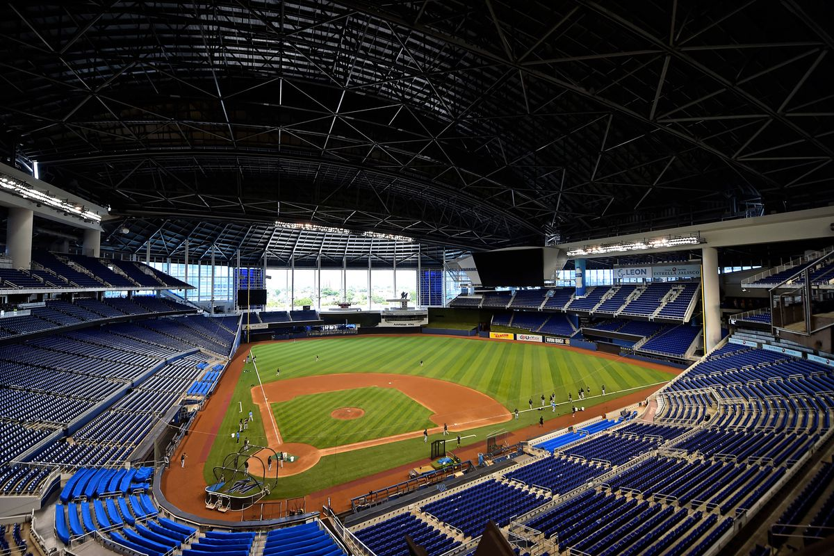 A general view during a summer camp workout at Marlins Park.