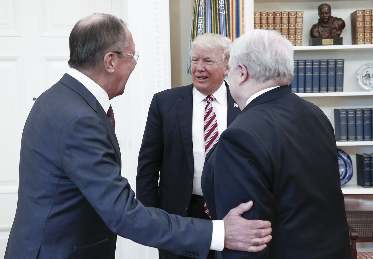 President Trump meets with Russian Foreign Minister Sergei Lavrov and Russian Ambassador Sergey Kislyak, in the Oval Office. Even if Russia didn't help Trump win the election, his legitimacy is in question.
