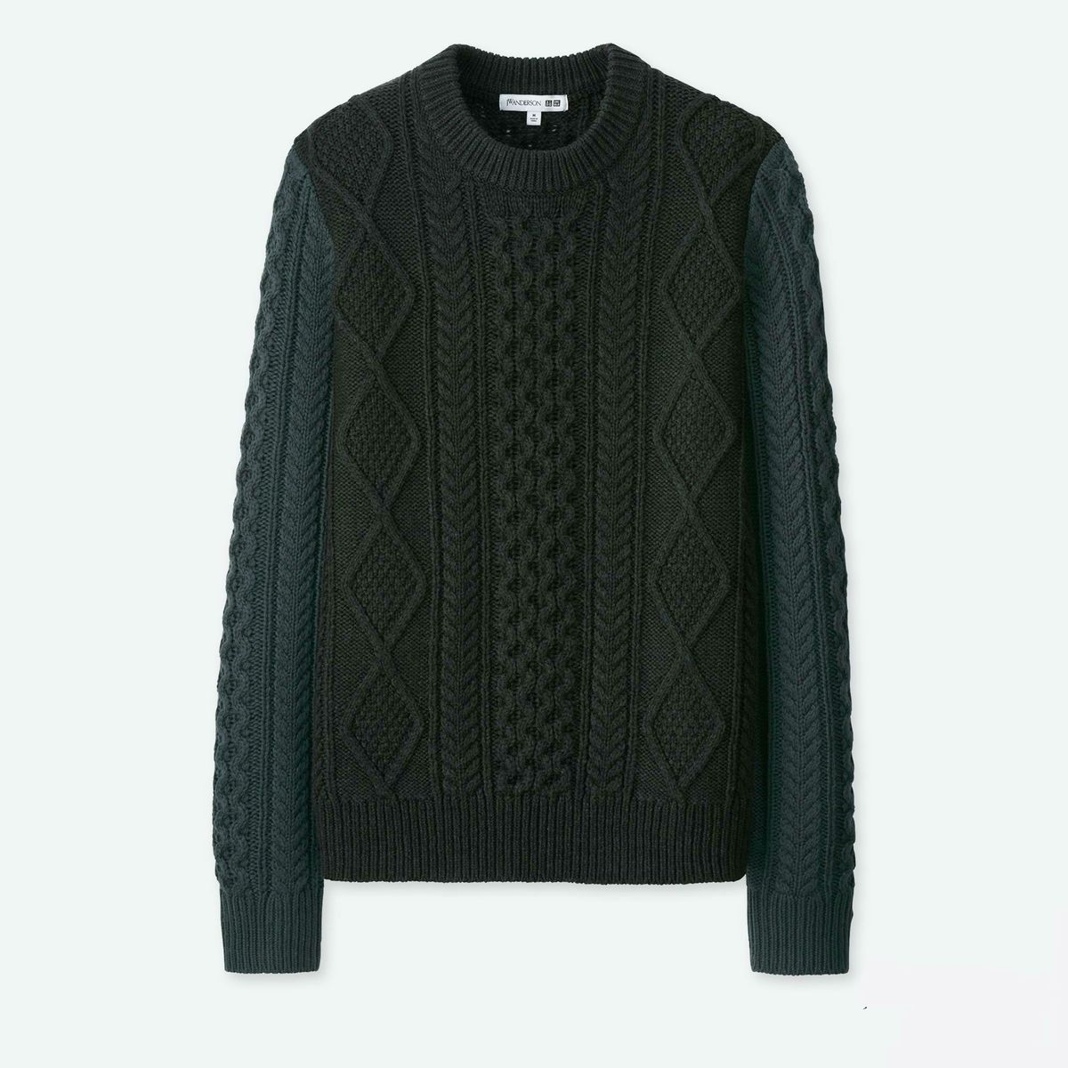An olive cable knit sweater