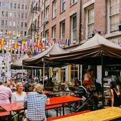 """<b>↑</b> Tucked on one of the narrow streets near the seaport, <b><a href=""""http://www.thegrowlernyc.com/"""">Growler</a></b> (55 Stone Street) is a casual, neighborhood spot with the quirky Victorian dog-themed décor. Standard brunch fare makes up the menu—c"""