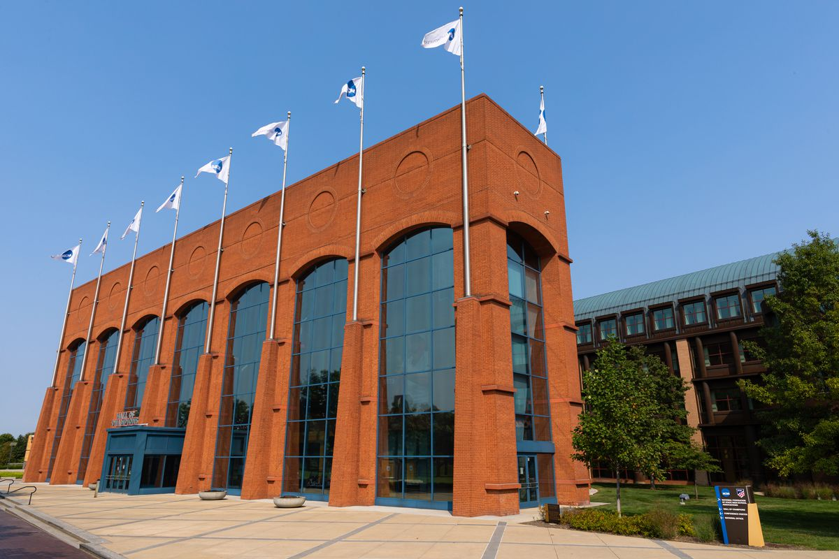 The exterior of the NCAA Hall of Champions on September 17, 2020 in Indianapolis, Indiana.
