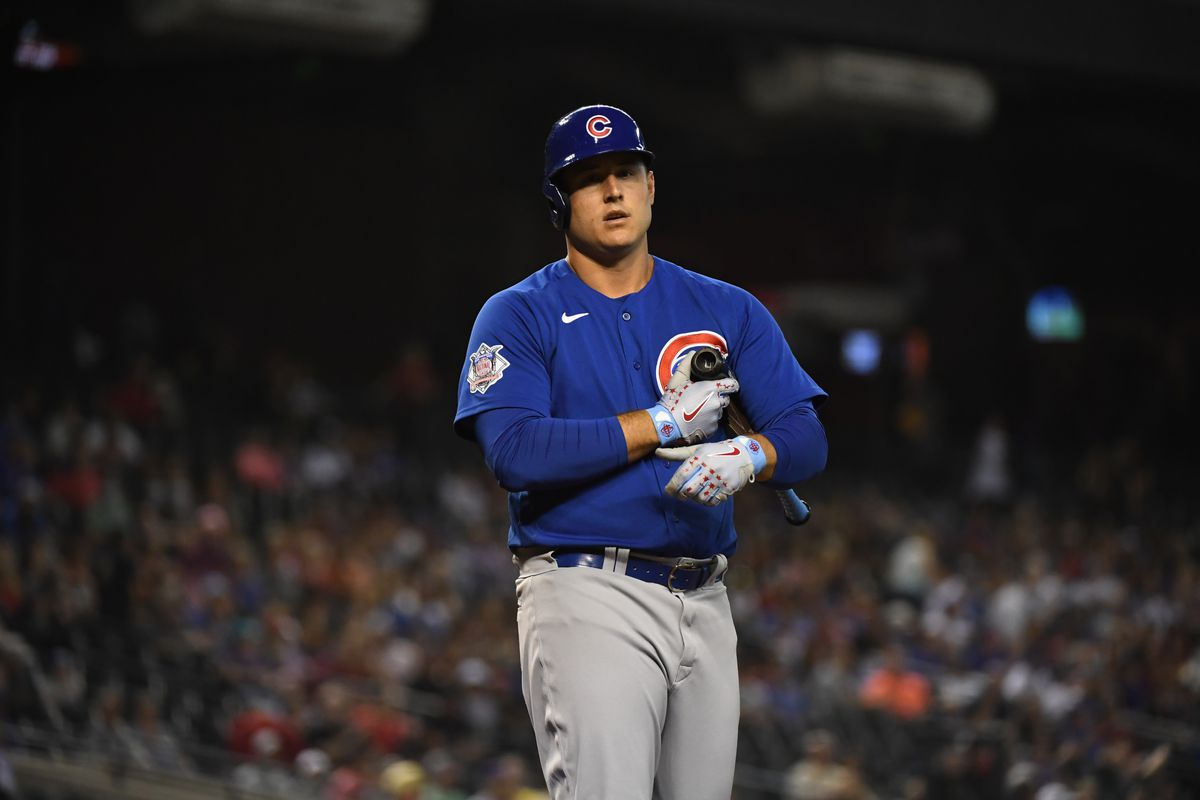 Anthony Rizzo of the Chicago Cubs gets ready in the batters box against the Arizona Diamondbacks at Chase Field on July 16, 2021 in Phoenix, Arizona.