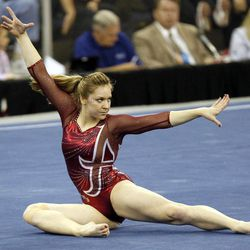 Alabama's Geralen Stack-Eaton performs her floor exercise routine during the semifinals of the NCAA college women's gymnastics championships, Friday, April 20, 2012, in Duluth, Ga.